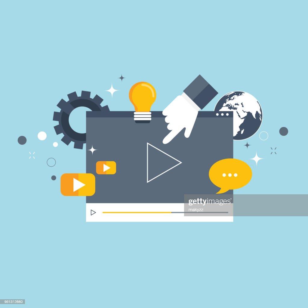 Media marketing concept. Flat vector illustration.