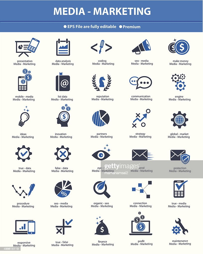Media & Marketing concept icons,Blue version,vector