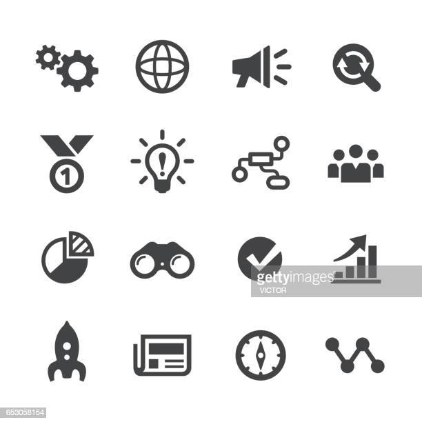 media marketing icons set - acme series - strategy stock illustrations, clip art, cartoons, & icons