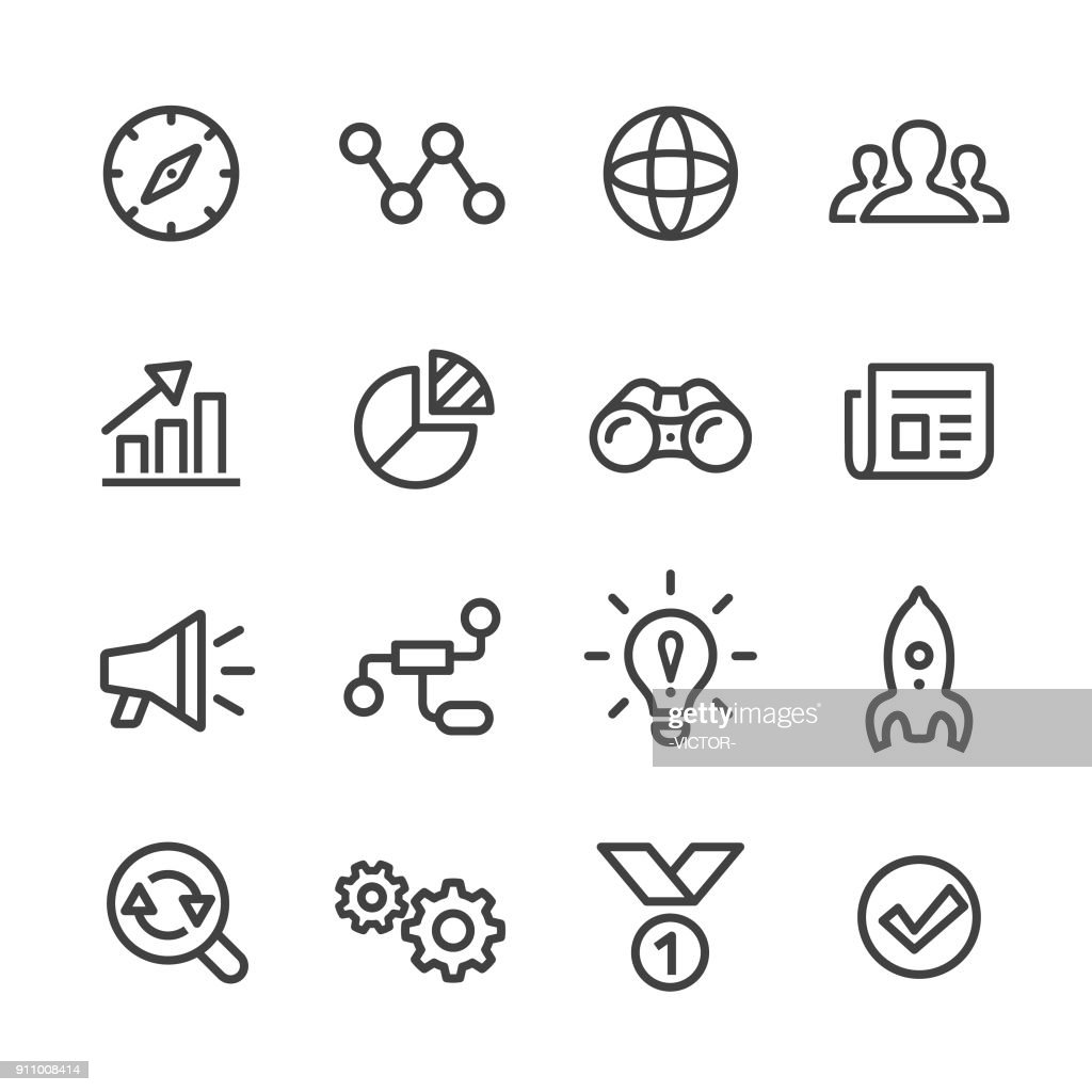 Media Marketing Icons Set - Line Series