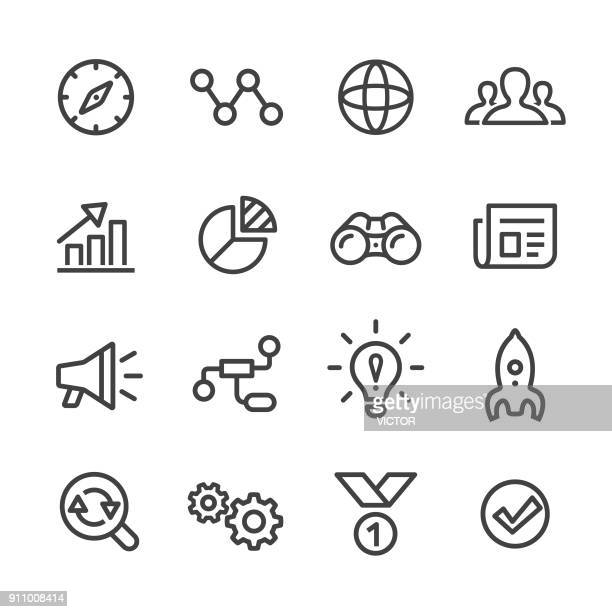 media marketing icons set - line series - strategy stock illustrations, clip art, cartoons, & icons