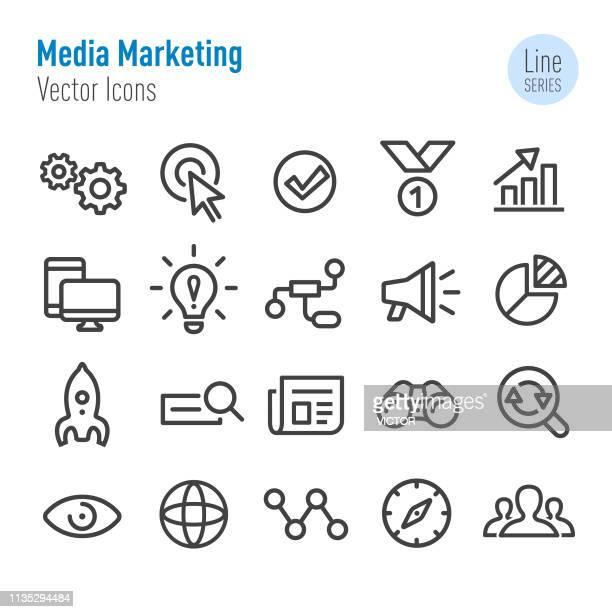 illustrazioni stock, clip art, cartoni animati e icone di tendenza di set icone marketing multimediale - vector line series - megafono