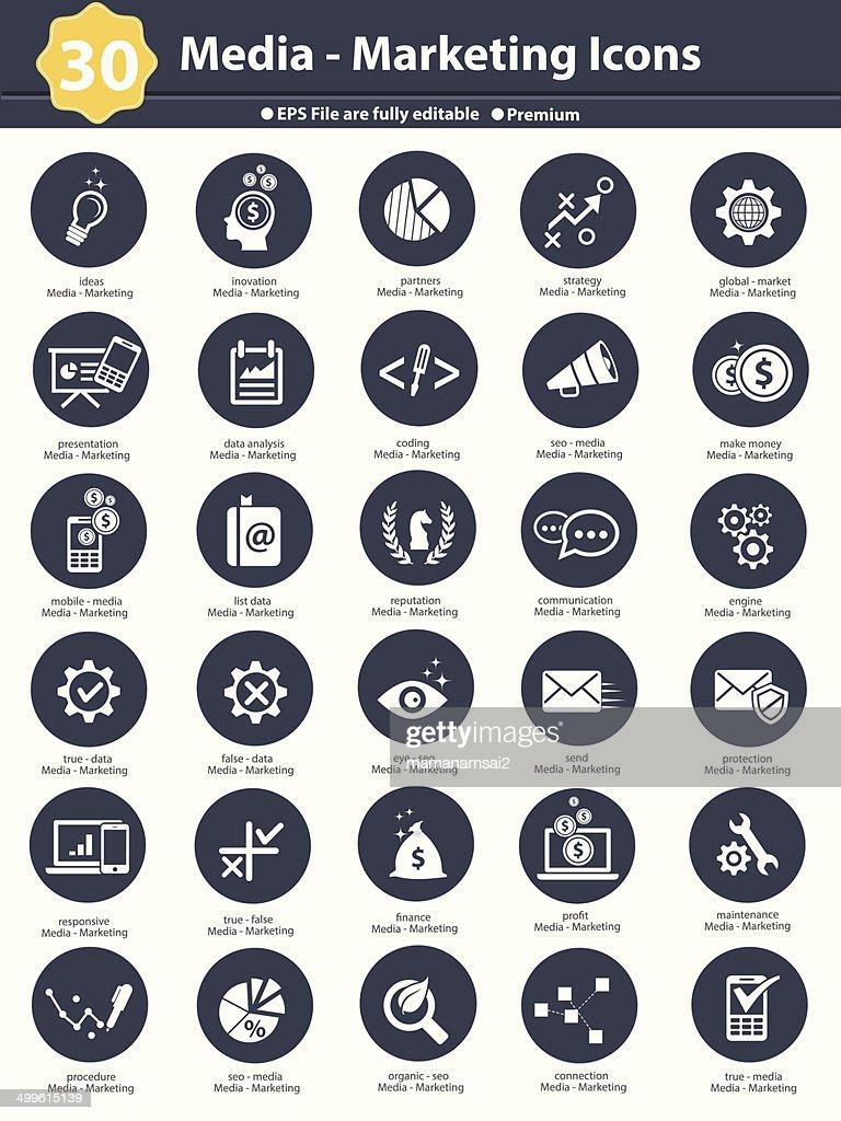 Media & Marketing icons,dark version on white background,vector