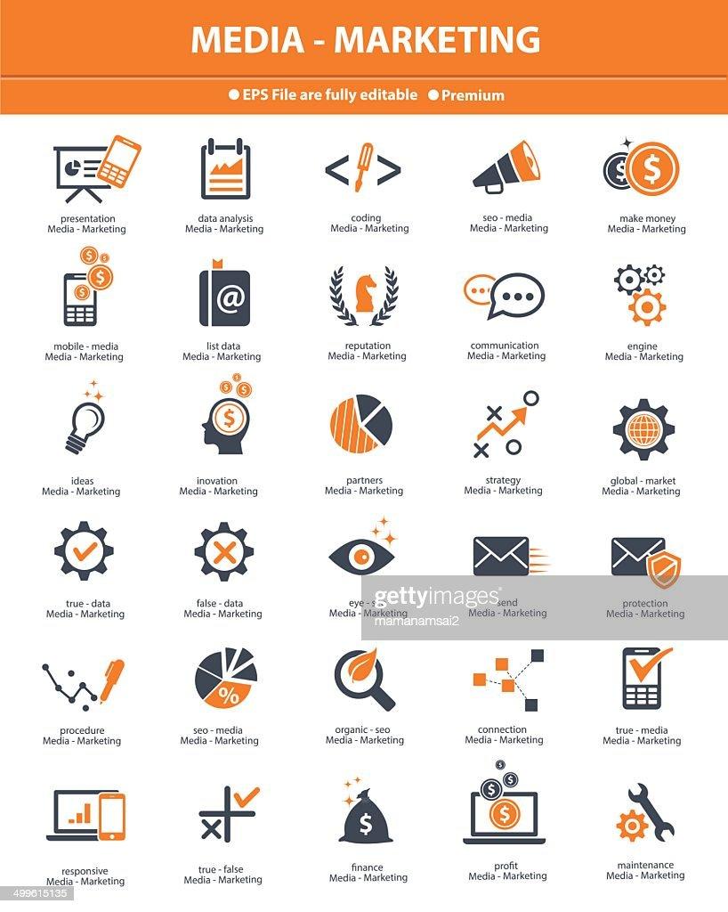 Media & Marketing icons,orange version on white background,vector