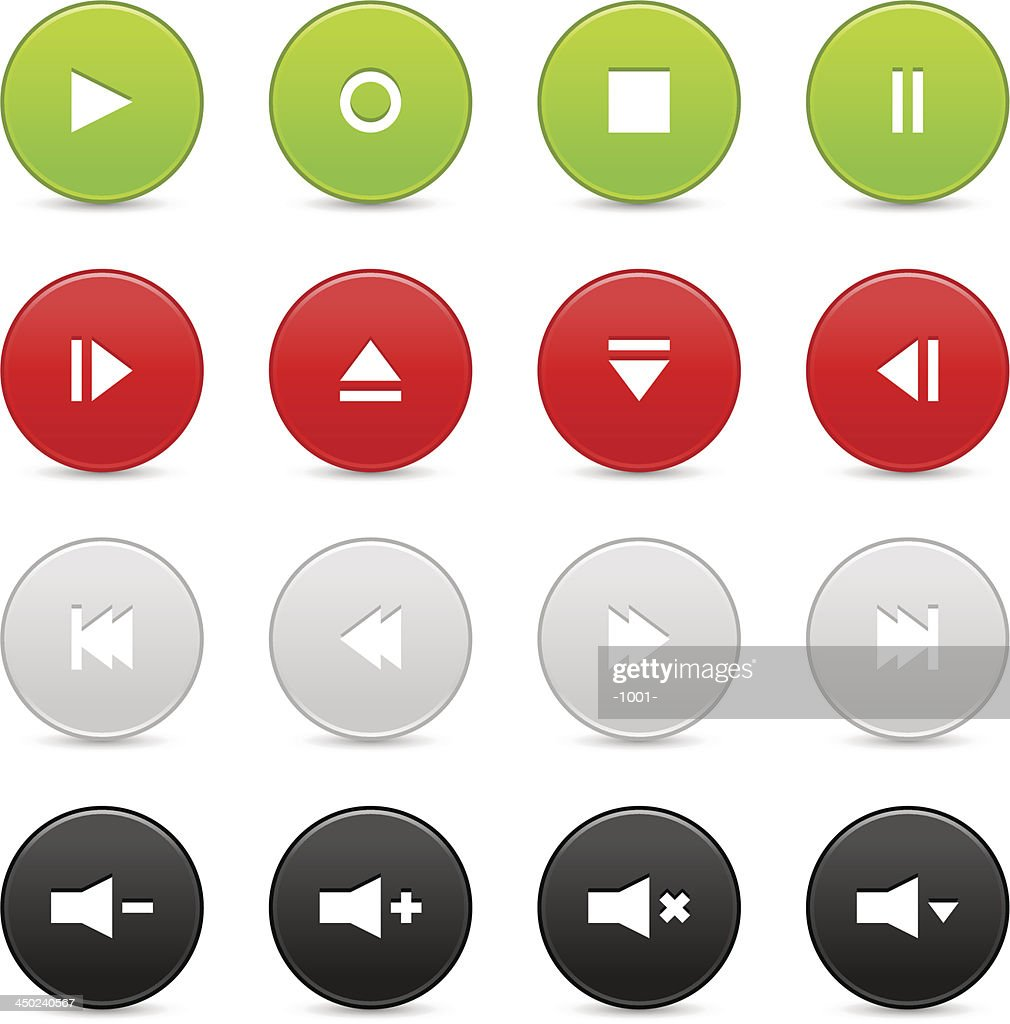 Media player audio video green red gray black circle icon