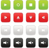 Media player audio video green red gray black square icon