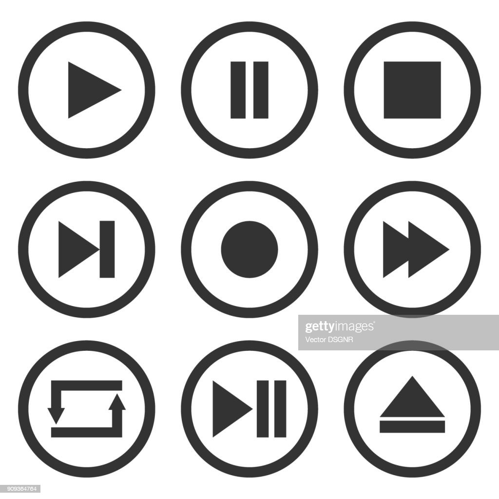 Media player control buttons set. Play, pause, stop, record, forward, rewind, previous, next, eject, repeat  icons in circle. Vector