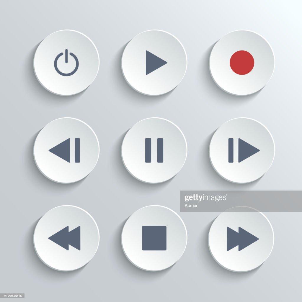 Media player control round button ui icon set