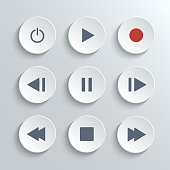 Media player control round button ui icon set