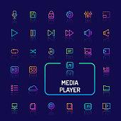 Media Player Gradient Line Button Set (EPS 10)