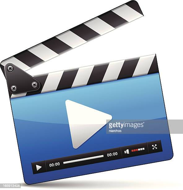 ilustraciones, imágenes clip art, dibujos animados e iconos de stock de icono reproductor de medios - claqueta de cine