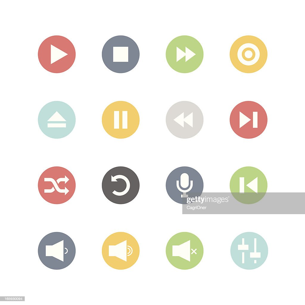 Media Player Icons : Minimal Style