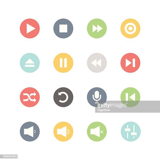 media player icons : minimal style - shuffling stock illustrations