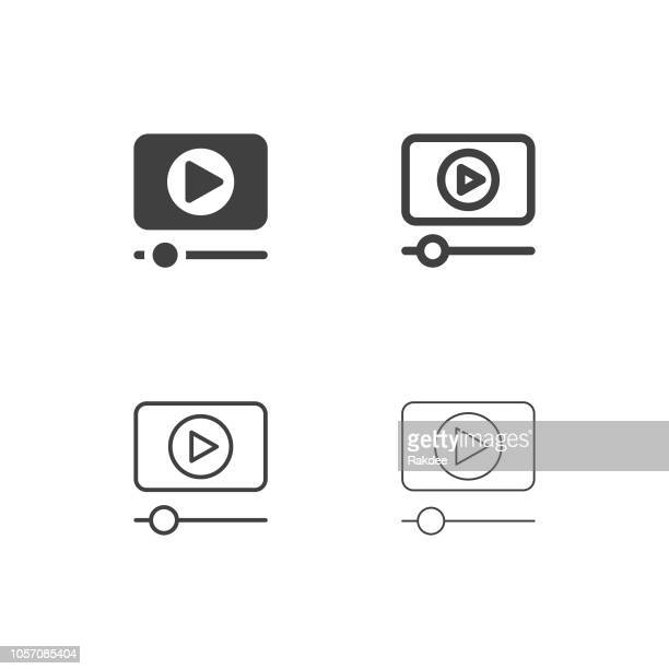 media player icons - multi series - video conference stock illustrations