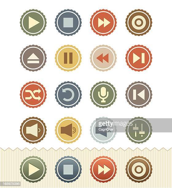 Media Player Icons : Vintage Badge Series