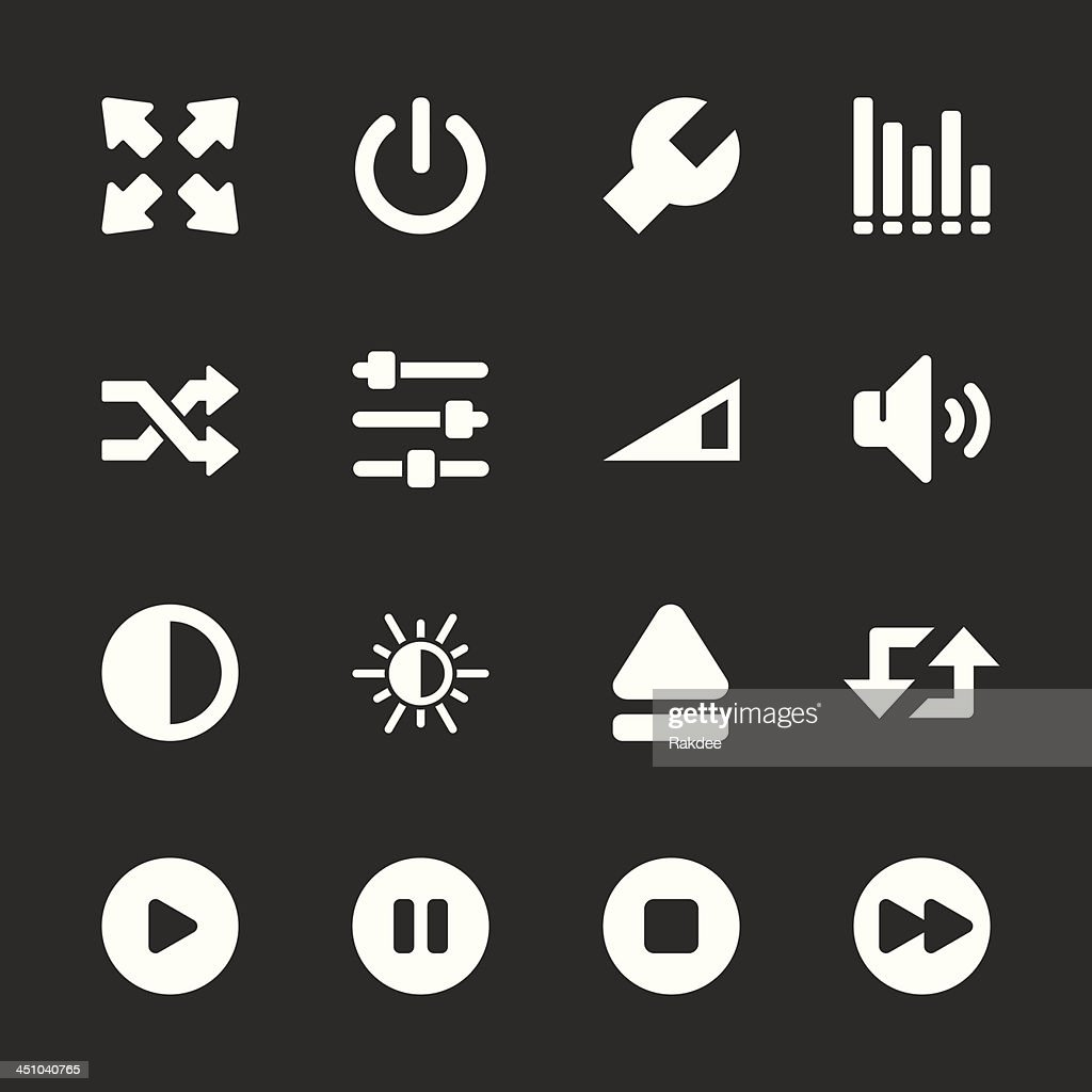 Media Player Icons - White Series | EPS10