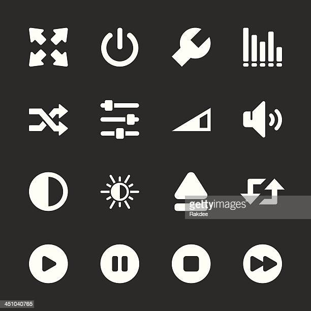 media player icons - white series | eps10 - start button stock illustrations, clip art, cartoons, & icons