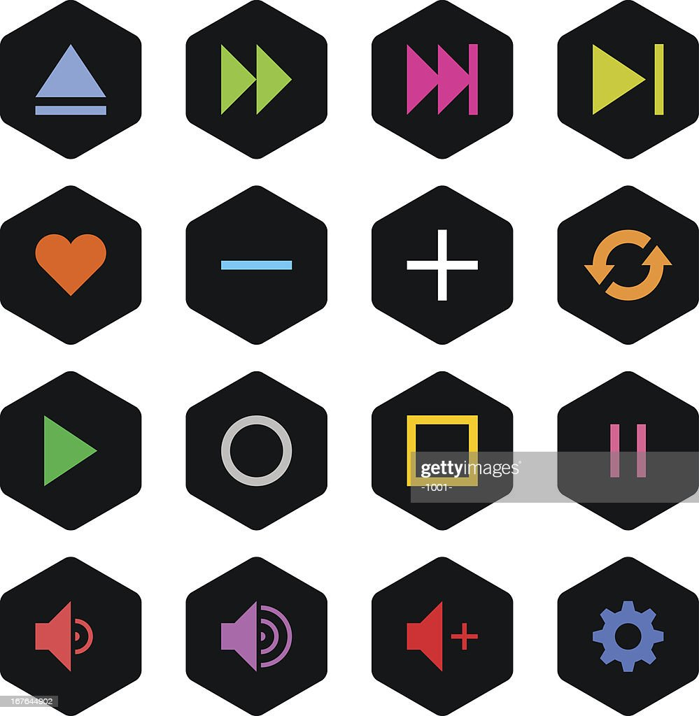 Media player sign black hexagon button icon simple style