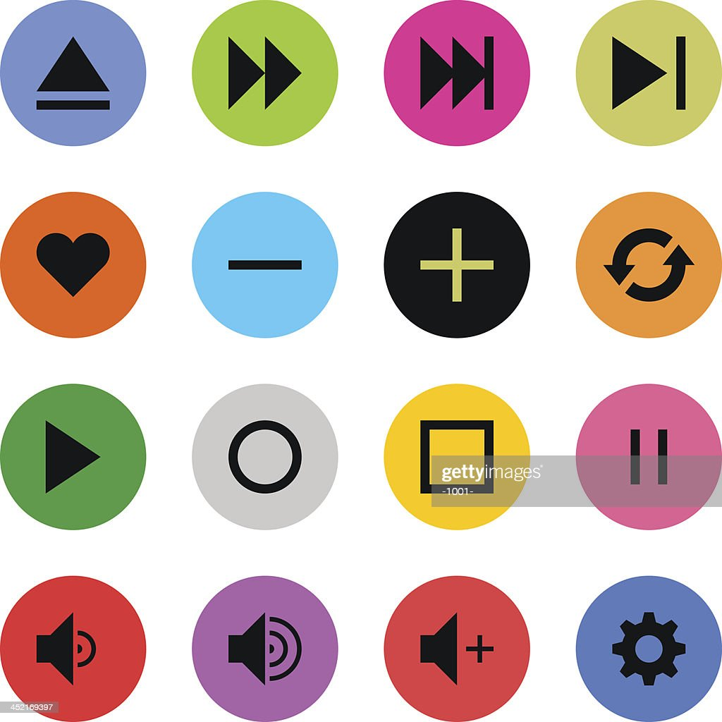 Media player sign color circle button icon flat plain simple