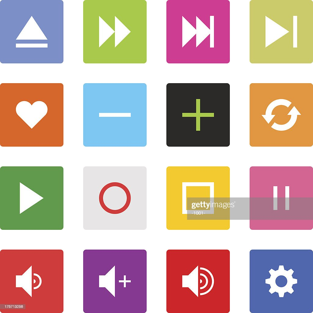 Media player sign color square button flat plain simple icon