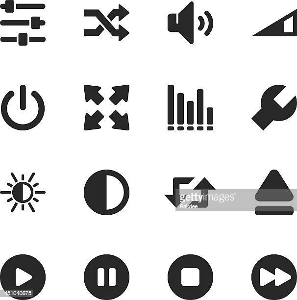 media player silhouette icons - start button stock illustrations, clip art, cartoons, & icons