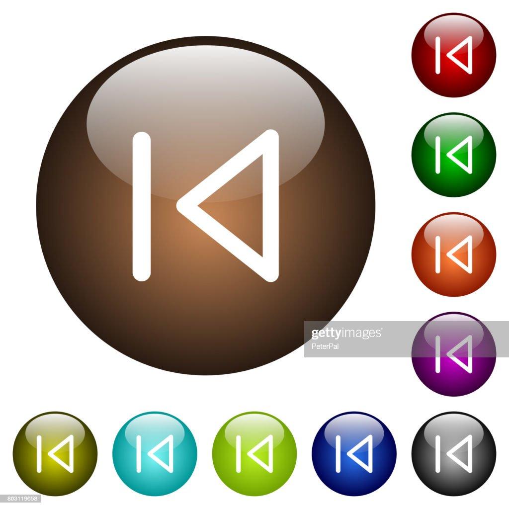 Media prev color glass buttons