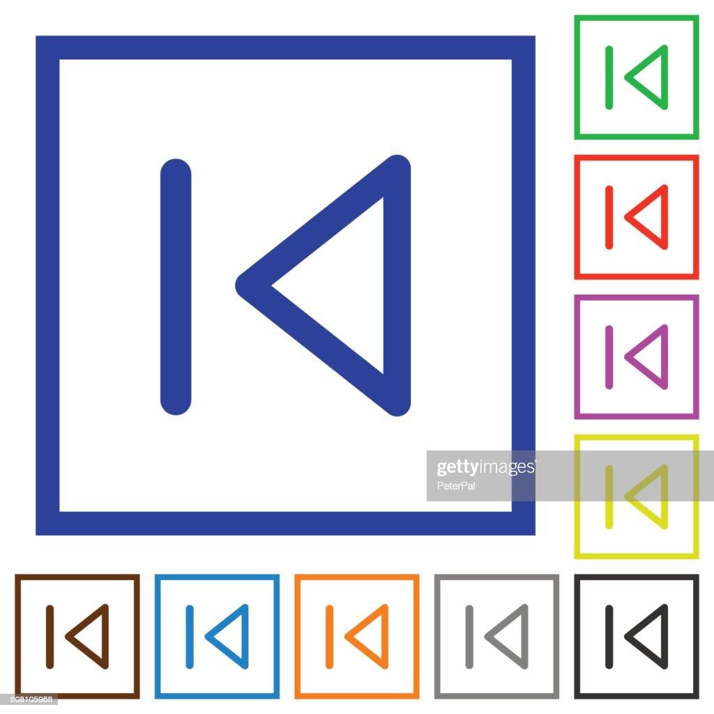 Media prev flat framed icons