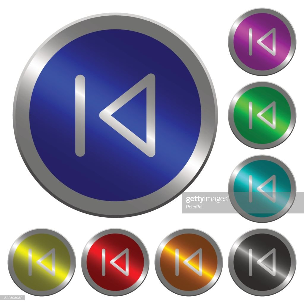 Media prev luminous coin-like round color buttons