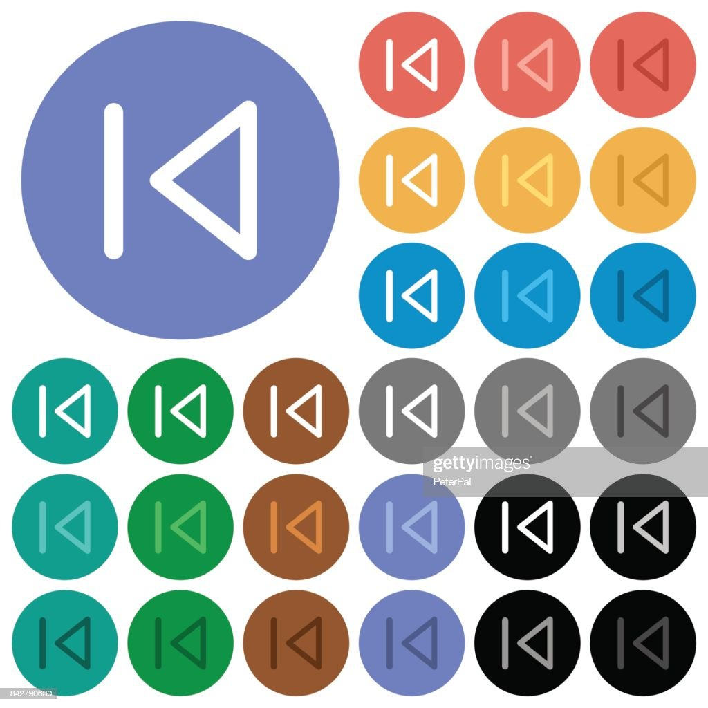 Media prev round flat multi colored icons