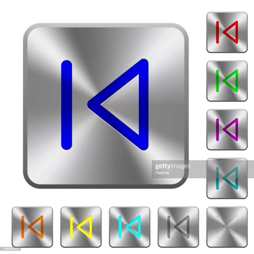 Media prev rounded square steel buttons