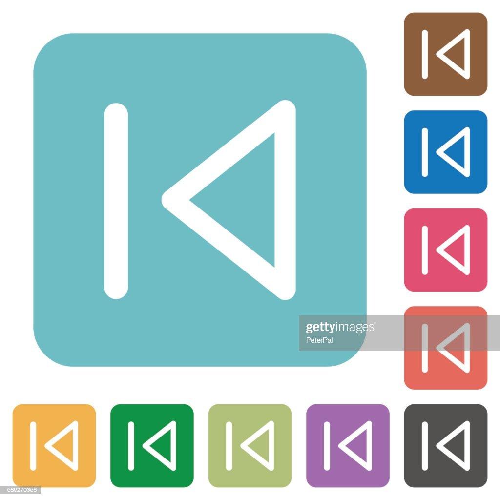 Media prev square flat icons