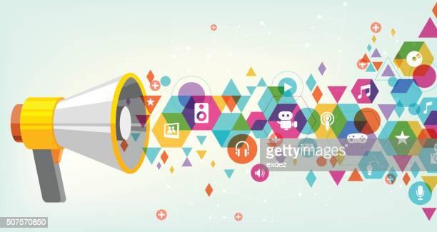 media promote design - multimedia stock illustrations