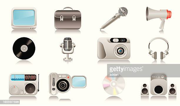 media & publishing icons - volume knob stock illustrations, clip art, cartoons, & icons