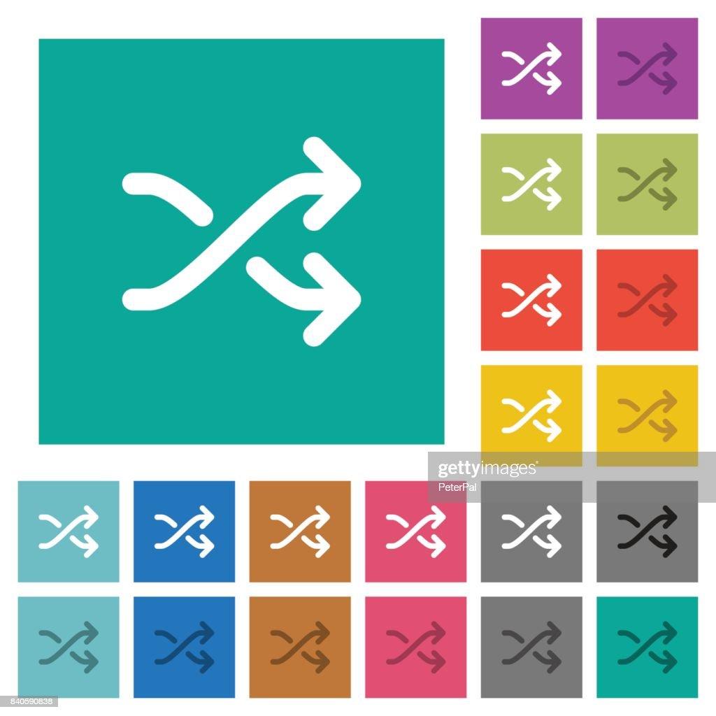 Media shuffle square flat multi colored icons