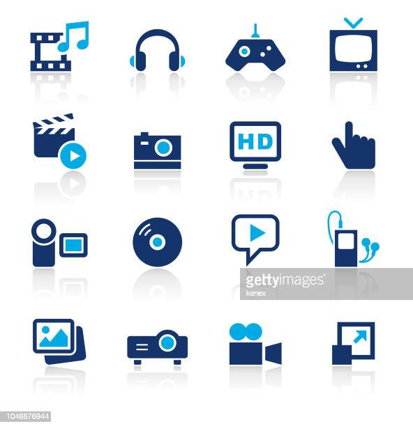 Media Two Color Icons Set