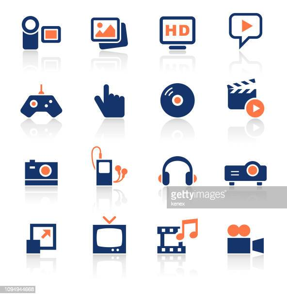media two color icons set - high definition television television set stock illustrations