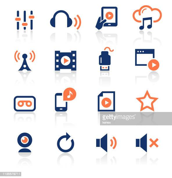 media two color icons set - usb cable stock illustrations, clip art, cartoons, & icons