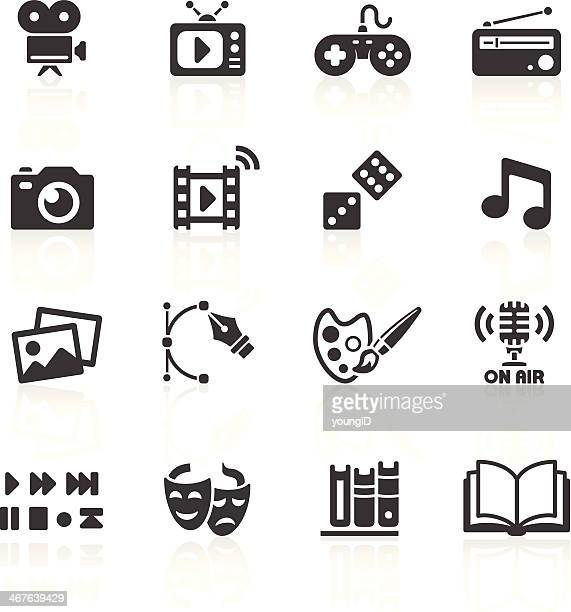 media web icons - arts culture and entertainment stock illustrations