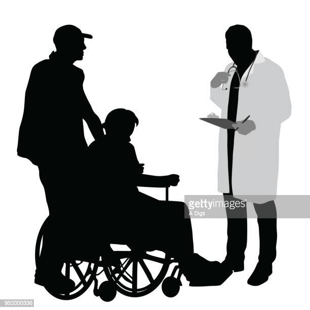 medical adfvice wheelchair bound - senior adult stock illustrations, clip art, cartoons, & icons