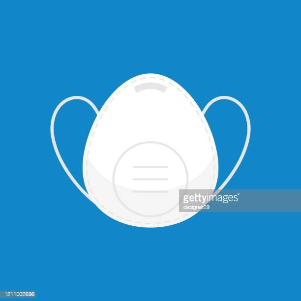 医療とcovid-19コロナウイルスマスクアイコン。青の背景に産業保護と顔汚染マスクフラットデザイン。 - マスク点のイラスト素材/クリップアート素材/マンガ素材/アイコン素材