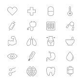 Medical and Health Care Fitness Set Of Healthy Icons Line
