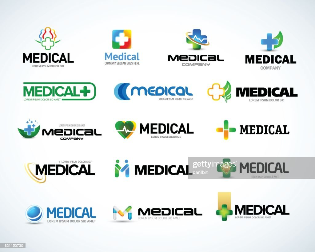 Medical and health emblem design templates set.  Isolated Vector illustration