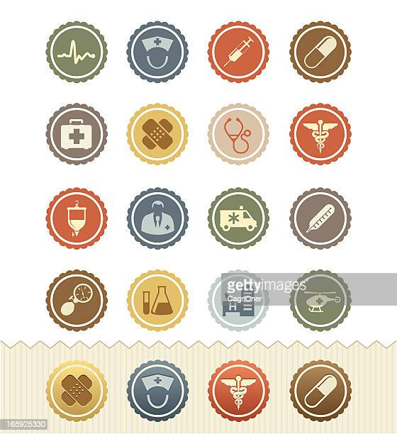 medical and health icons : vintage badge series - medical symbol stock illustrations, clip art, cartoons, & icons