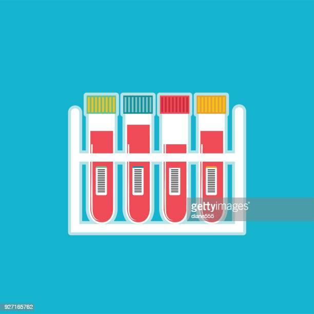 medical and healthcare blood draw samples icon in flat design style - blood test stock illustrations, clip art, cartoons, & icons