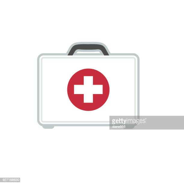 Medical And Healthcare First Aid kit Icon In Flat Design Style