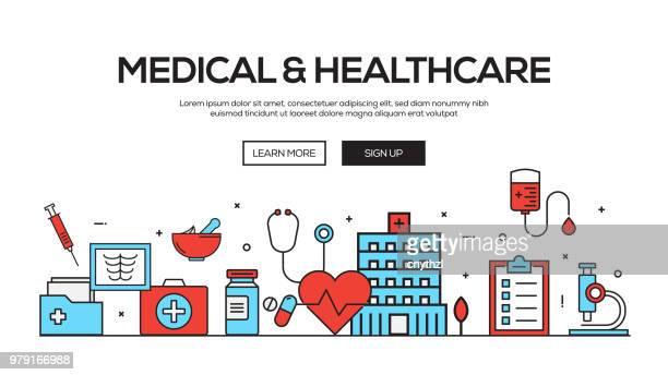 Diseño de Banner Web línea plana médica y profesional de la salud
