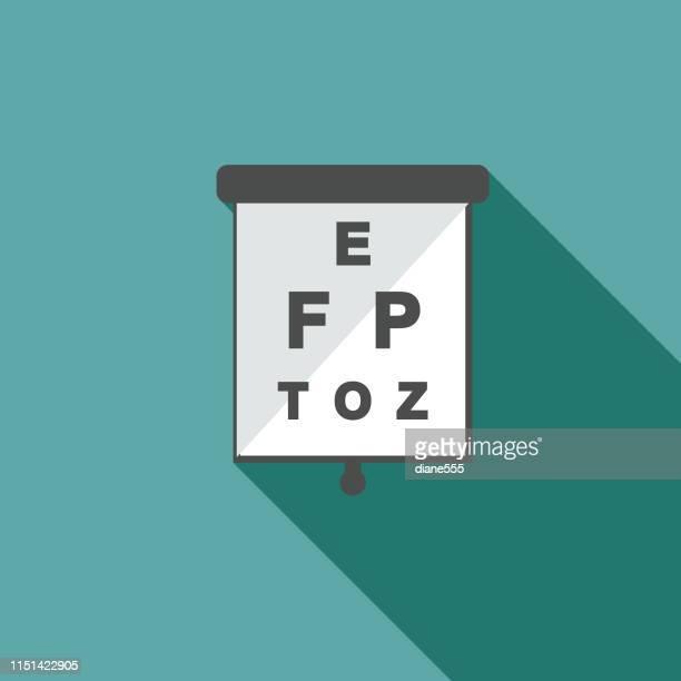 フラットなデザインスタイルにおける医療およびヘルスケアのアイコン-目のグラフ - 視力検査機器点のイラスト素材/クリップアート素材/マンガ素材/アイコン素材
