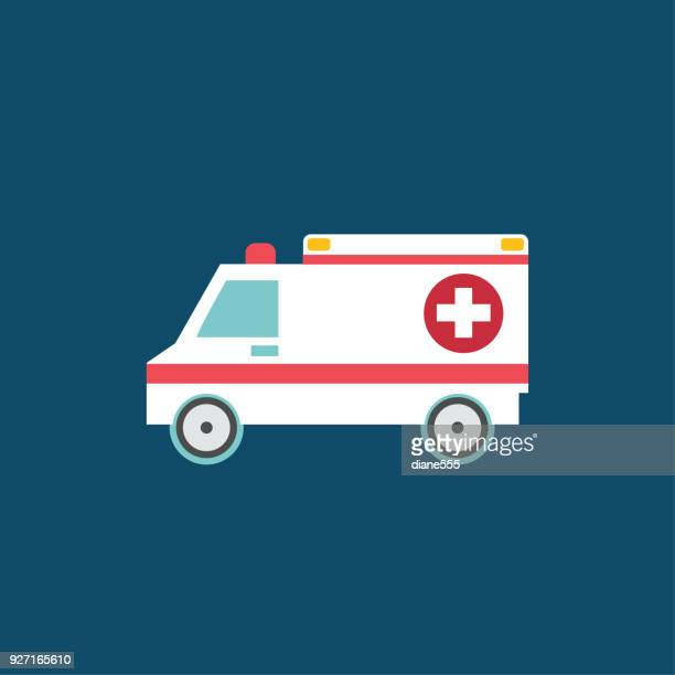 medical and healthcare icon in flat design style - ambulance stock illustrations