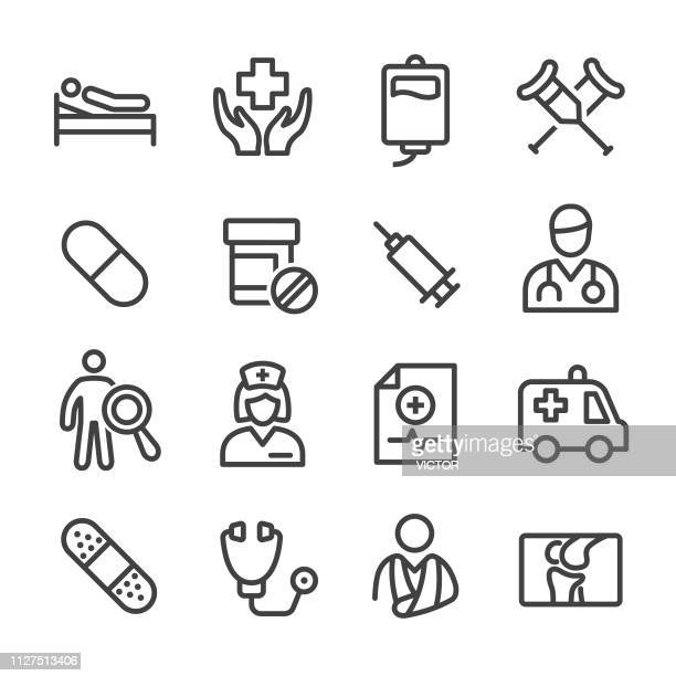 medical and healthcare icon - line series - pill bottle stock illustrations