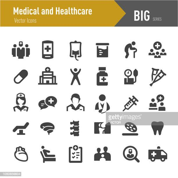 medical and healthcare icons - big series - patient stock illustrations